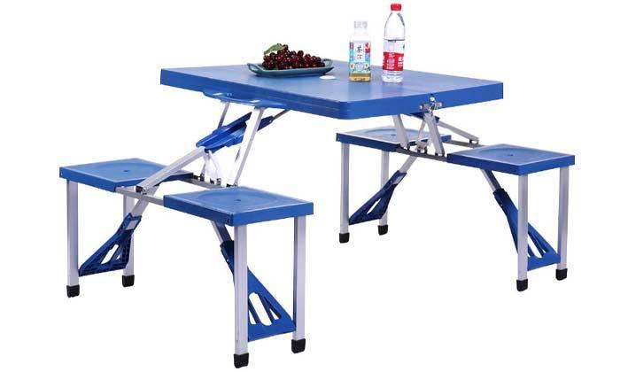 2 שולחן פיקניק עם 4 כיסאות מתקפלים