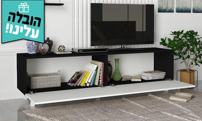 8 מזנון טלוויזיה 1.8 מטר עם זוג מדפי תלייה - משלוח חינם