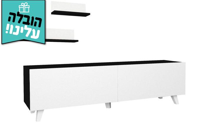 6 מזנון טלוויזיה 1.8 מטר עם זוג מדפי תלייה - משלוח חינם