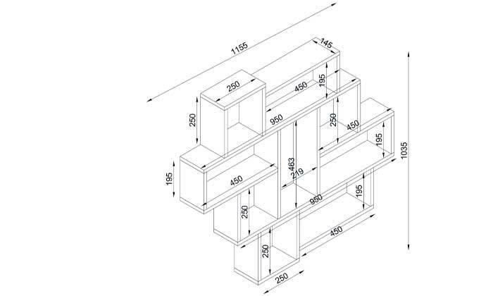 3 ספרייה בעיצוב א-סימטרי, דגם פרלה
