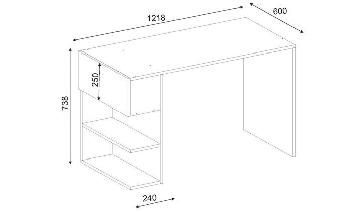 3 שולחן כתיבה עם מדפי צד, דגם שני