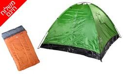אוהל ל-4 אנשים ושק שינה זוגי