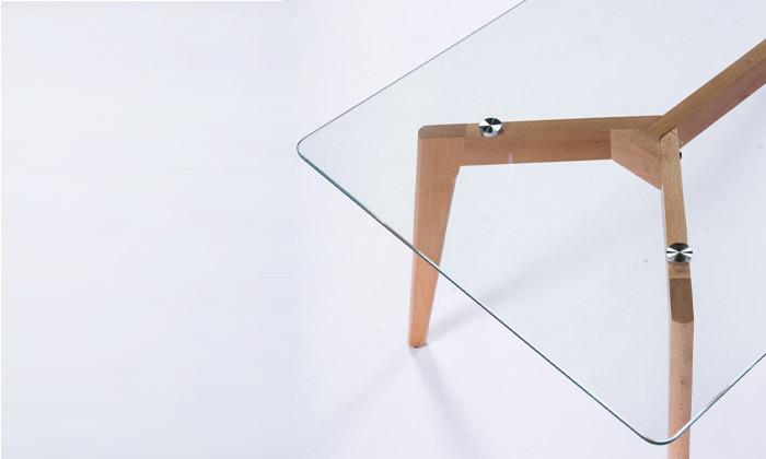 3 שולחן קפה מלבני עם פלטת זכוכית
