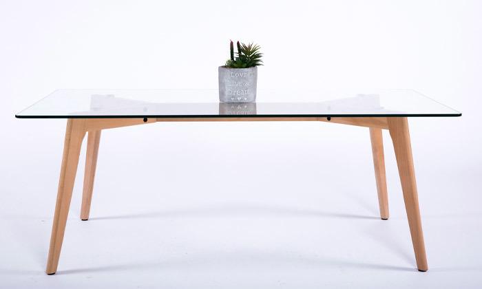 4 שולחן קפה מלבני עם פלטת זכוכית