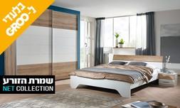 מיטה זוגית, 2 שידות וארון הזזה