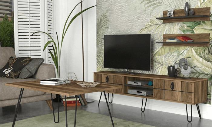 2 סט מזנון טלוויזיה ושולחן קפה דגם ריאלטו - זוג מדפי תלייה מתנה