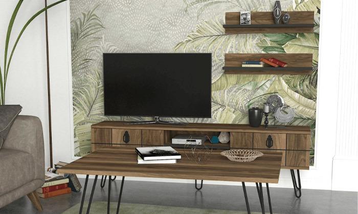5 סט מזנון טלוויזיה ושולחן קפה דגם ריאלטו - זוג מדפי תלייה מתנה