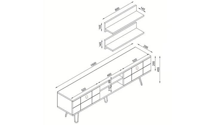 4 סט מזנון טלוויזיה ושולחן קפה דגם ריאלטו - זוג מדפי תלייה מתנה