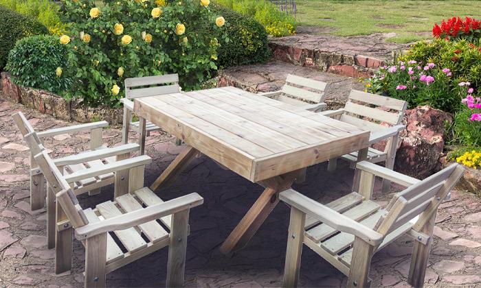 2 פינת אוכל בסגנון כפרי לגינה ולמרפסת