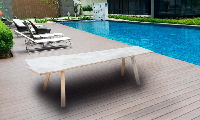 3 ספסל גינה מעץ מלא בחיתוך טבעי