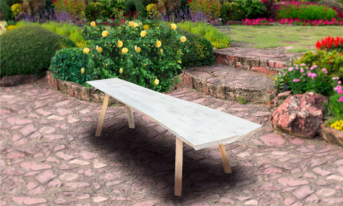 2 ספסל גינה מעץ מלא בחיתוך טבעי
