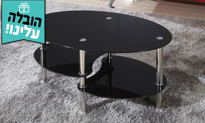 2 שולחן סלון מזכוכיתGarox,דגם DARK - משלוח חינם