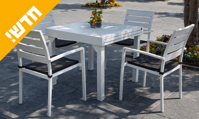 """7 סט שולחן נפתח ל-180 ס""""מ ו-4 כיסאות לגינה SCAB דגם Joy 1800"""