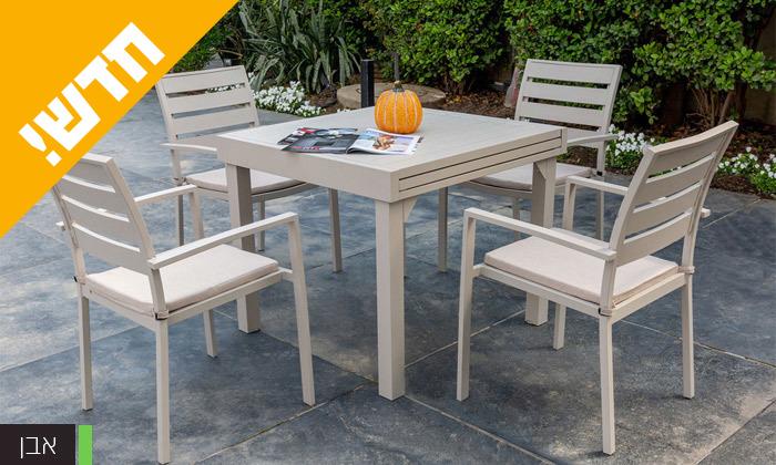 """4 סט שולחן נפתח ל-180 ס""""מ ו-4 כיסאות לגינה SCAB דגם Joy 1800"""
