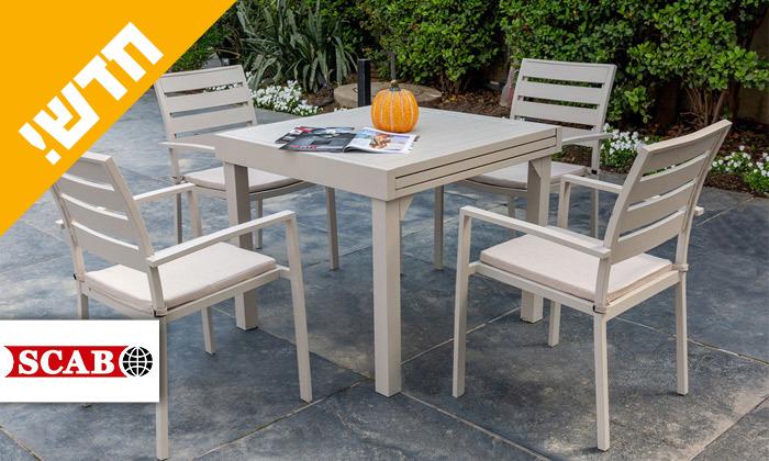 """2 סט שולחן נפתח ל-180 ס""""מ ו-4 כיסאות לגינה SCAB דגם Joy 1800"""