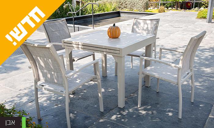 """5 סט שולחן נפתח ל-180 ס""""מ ו-4 כיסאות לגינה SCAB דגם Joy 1800"""