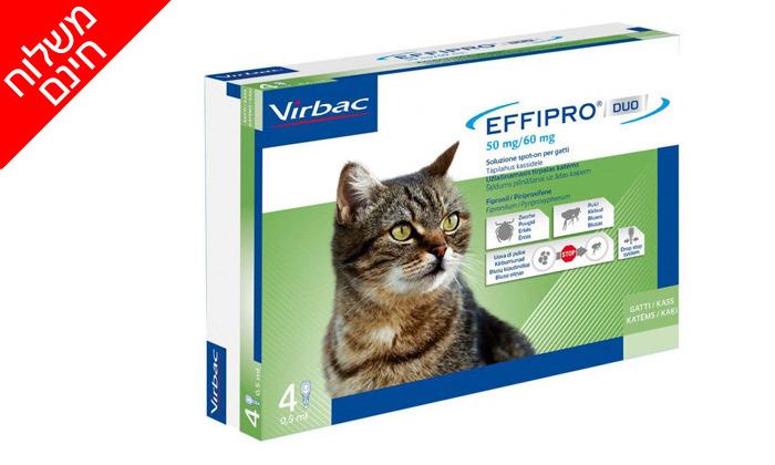 3 מארז 4 אמפולות נגד פרעושים וקרציות בחתולים אפיפרו EFFIPRO - משלוח חינם