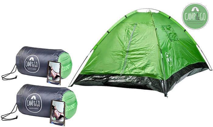 אוהל זוגי ו-2 שקי שינה - משלוח חינם!