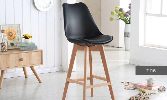 4 כיסא בר מעץ אורן מלא עם מושב מרופד
