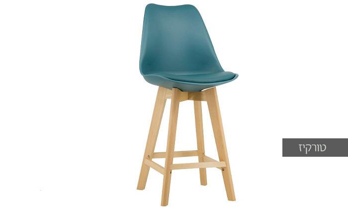 5 כיסא בר מעץ אורן מלא עם מושב מרופד