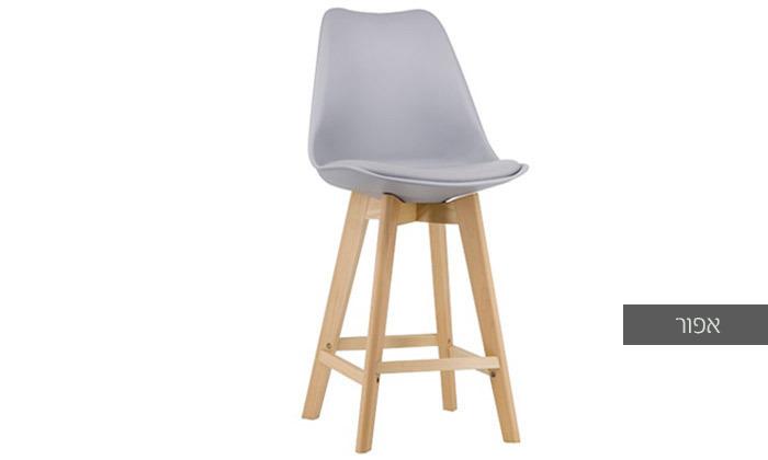6 כיסא בר מעץ אורן מלא עם מושב מרופד