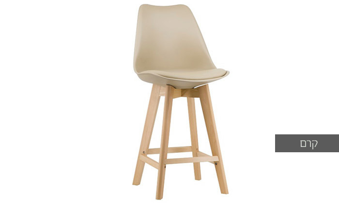 7 כיסא בר מעץ אורן מלא עם מושב מרופד
