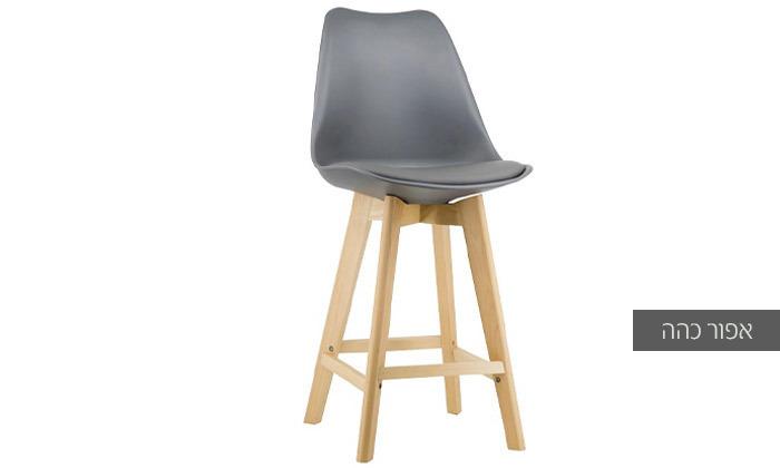 8 כיסא בר מעץ אורן מלא עם מושב מרופד