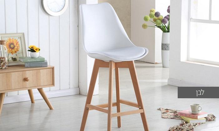 3 כיסא בר מעץ אורן מלא עם מושב מרופד