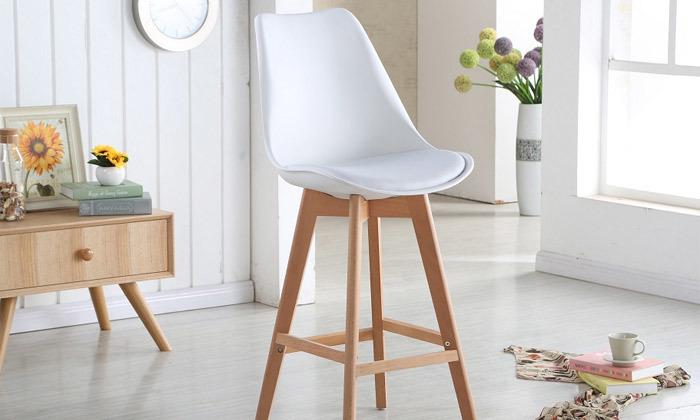 2 כיסא בר מעץ אורן מלא עם מושב מרופד