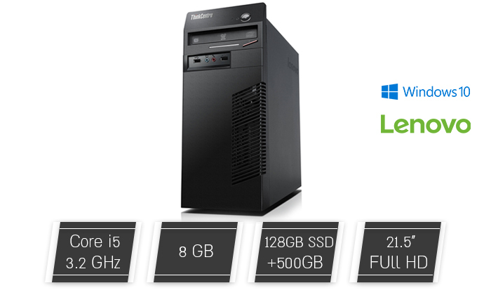 """2 מחשב נייח מחודש לנובו Lenovo דגם M72e עם זיכרון 8GB ומעבד i5 - כולל מסך """"22"""