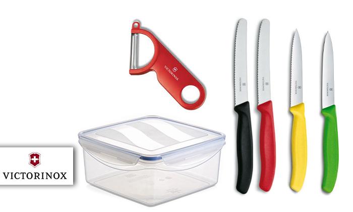 2 4 סכיני מטבח וקולפן VICTORINOX בקופסת אחסון
