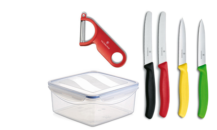 3 4 סכיני מטבח וקולפן VICTORINOX בקופסת אחסון