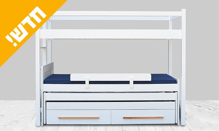 3 מיטת ילדים ונוער עם מעקה בטיחות