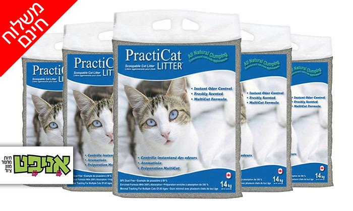 2 חמישה שקים של חול מתגבש פרמיום לחתול practicat - משלוח חינם