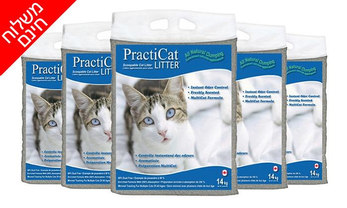 4 חמישה שקים של חול מתגבש פרמיום לחתול practicat - משלוח חינם
