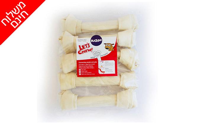 3 שני מארזים של עצם קשר לבנה לכלב KAZOO - משלוח חינם