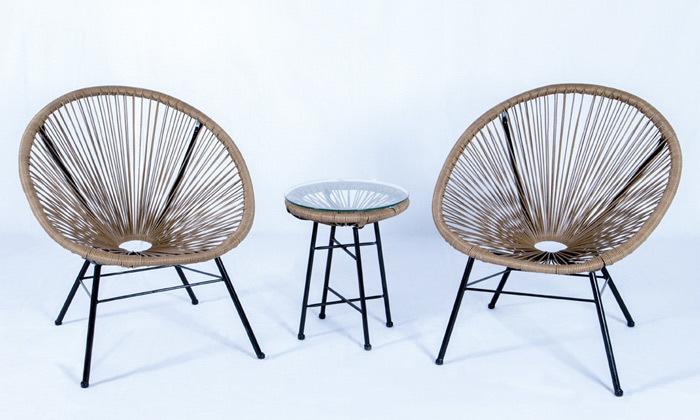 2 פינת ישיבה זוגית דגם מרטיני, צבע עץ טבעי