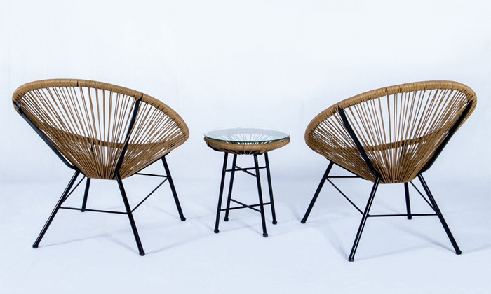 3 פינת ישיבה זוגית דגם מרטיני, צבע עץ טבעי