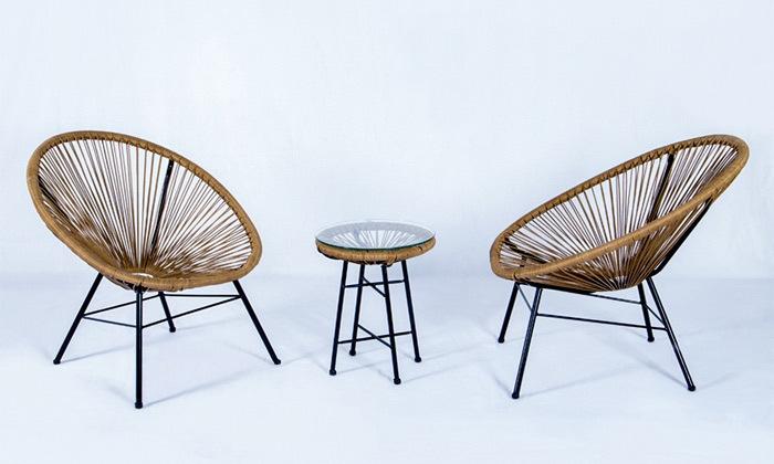 5 פינת ישיבה זוגית דגם מרטיני, צבע עץ טבעי