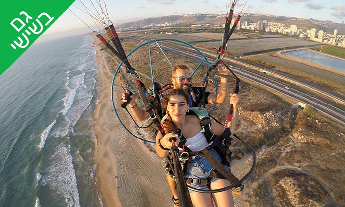 6 טיסה במצנח רחיפה ממונע מעל מפרץ חיפה והכרמל