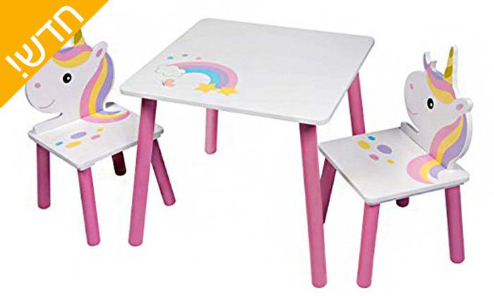 2 שולחן ושניכיסאות ילדים בעיצובחד קרן,משלוח חינם