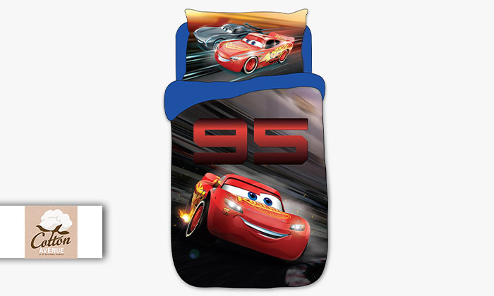 2 סט מצעים למיטה ברוחב וחצי דגם מכוניות