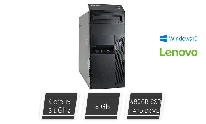 2 מחשב נייח מחודש לנובו Lenovo דגם M91P עם זיכרון 8GB ומעבד i5