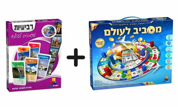 משחק קופסה מסביב לעולם כולל משחק קלפים רביעיות מסביב לעולם