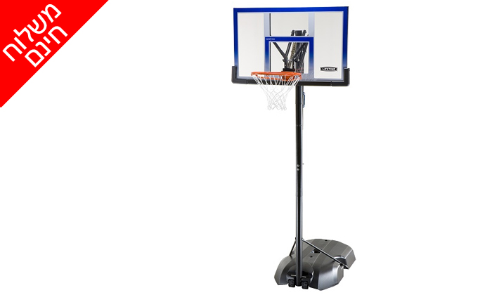 7 מתקן סל נייד ומתכוונן LIFE TIME, כולל משלוח חינם וכדור כדורסל