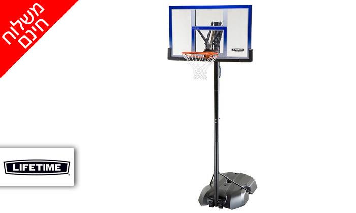 2 מתקן סל נייד ומתכוונן LIFE TIME, כולל משלוח חינם וכדור כדורסל