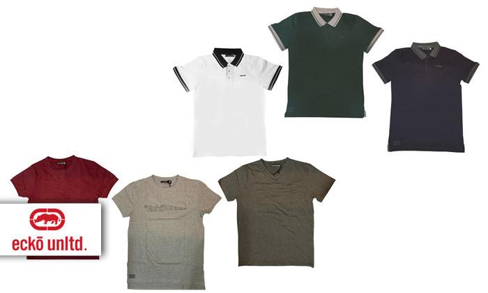 2 מארז 5 חולצות פולו או טי שירט לגברים Ecko Unltd