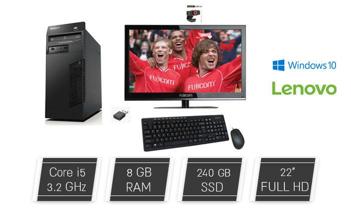 2 מחשב נייח LENOVO או HP כולל מסך ואביזרים - משלוח חינם