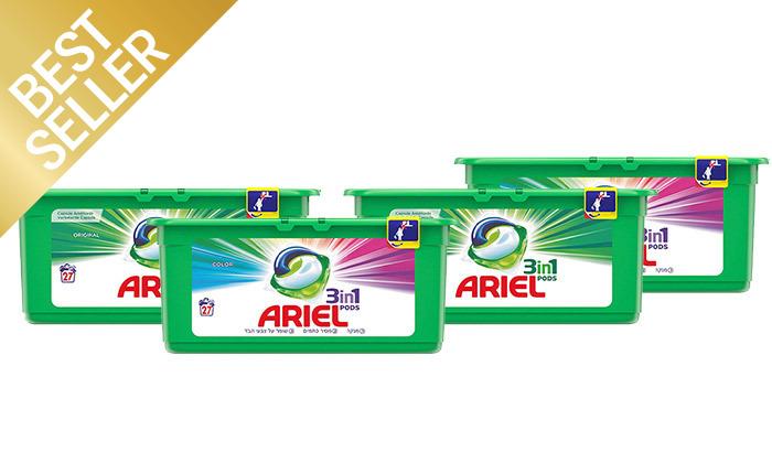 5 108 קפסולות ג'ל לכביסה אריאל ARIEL