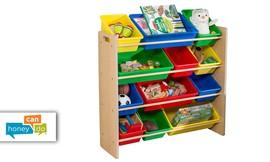 ארגונית צעצועים עם 12 קופסאות